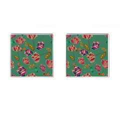 Flowers Pattern Cufflinks (Square) by Nexatart
