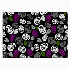 Purple Roses Pattern Large Glasses Cloth (2 Side) by Valentinaart