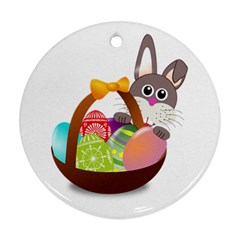 Easter Bunny Eggs Nest Basket Ornament (round) by Nexatart
