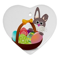 Easter Bunny Eggs Nest Basket Ornament (heart) by Nexatart