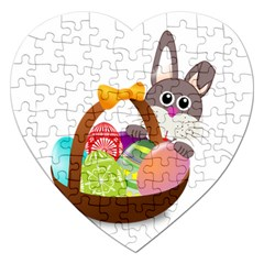 Easter Bunny Eggs Nest Basket Jigsaw Puzzle (heart) by Nexatart