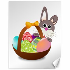 Easter Bunny Eggs Nest Basket Canvas 12  X 16   by Nexatart