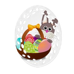 Easter Bunny Eggs Nest Basket Oval Filigree Ornament (two Sides) by Nexatart