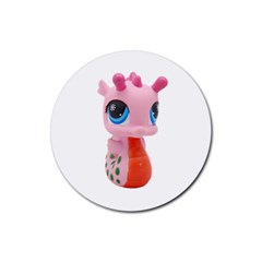 Dragon Toy Pink Plaything Creature Rubber Round Coaster (4 Pack)  by Nexatart