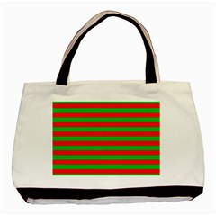 Pattern Lines Red Green Basic Tote Bag (two Sides) by Nexatart