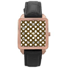Brown Polkadot Background Rose Gold Leather Watch