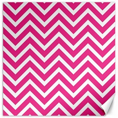 Chevrons Stripes Pink Background Canvas 16  X 16   by Nexatart