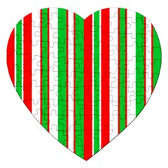 Christmas Holiday Stripes Red Green,white Jigsaw Puzzle (heart) by Nexatart