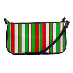 Christmas Holiday Stripes Red Green,white Shoulder Clutch Bags by Nexatart
