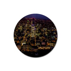 City Glass Architecture Windows Rubber Round Coaster (4 Pack)  by Nexatart