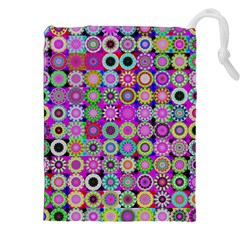 Design Circles Circular Background Drawstring Pouches (XXL) by Nexatart