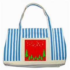 Merry Christmas Striped Blue Tote Bag by Nexatart