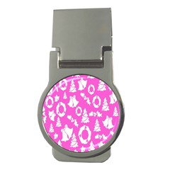 Pink Christmas Background Money Clips (round)  by Nexatart