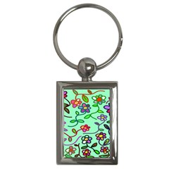 Flowers Floral Doodle Plants Key Chains (rectangle)  by Nexatart