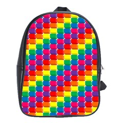 Rainbow 3d Cubes Red Orange School Bags (xl)  by Nexatart