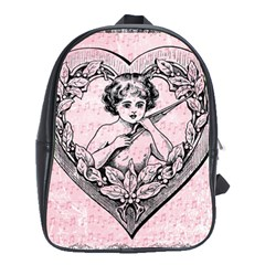 Heart Drawing Angel Vintage School Bags (xl)  by Nexatart