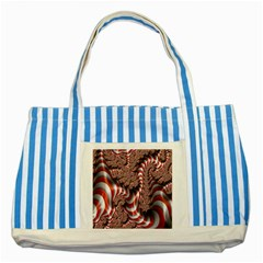 Fractal Abstract Red White Stripes Striped Blue Tote Bag by Nexatart