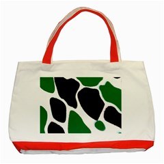 Green Black Digital Pattern Art Classic Tote Bag (red) by Nexatart