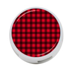 Red and black plaid pattern 4-Port USB Hub (One Side) by Valentinaart
