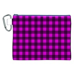 Magenta and black plaid pattern Canvas Cosmetic Bag (XXL) by Valentinaart