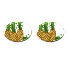Pineapples Tropical Fruits Foods Cufflinks (Oval) by Nexatart