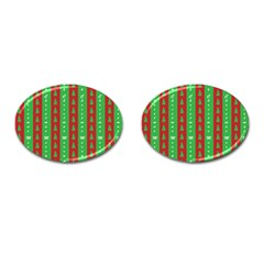Christmas Tree Background Cufflinks (oval) by Nexatart