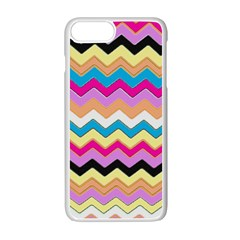 Chevrons Pattern Art Background Apple iPhone 7 Plus White Seamless Case by Nexatart