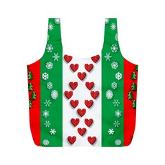 Christmas Snowflakes Christmas Trees Full Print Recycle Bags (m)  by Nexatart