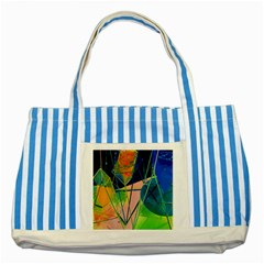 New Form Technology Striped Blue Tote Bag by Nexatart