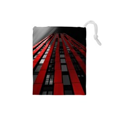 Red Building City Drawstring Pouches (small)  by Nexatart
