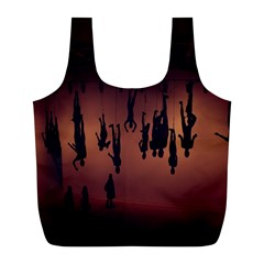 Silhouette Of Circus People Full Print Recycle Bags (l)  by Nexatart