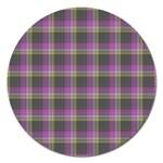 Tartan Fabric Colour Purple Magnet 5  (Round) Front