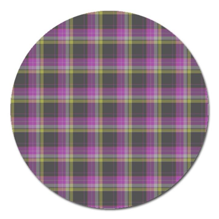 Tartan Fabric Colour Purple Magnet 5  (Round)