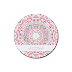 Pattern Tribal Blue Pink Drink Coaster (round) by makeunique