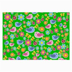 Spring Pattern   Green Large Glasses Cloth (2 Side) by Valentinaart