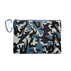 Blue Water Camouflage Canvas Cosmetic Bag (M) by Nexatart
