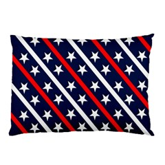 Patriotic Red White Blue Stars Pillow Case by Nexatart