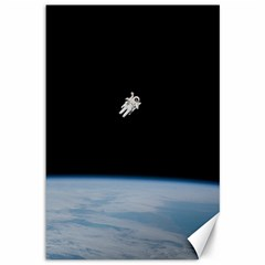 Astronaut Floating Above The Blue Planet Canvas 12  X 18   by Nexatart
