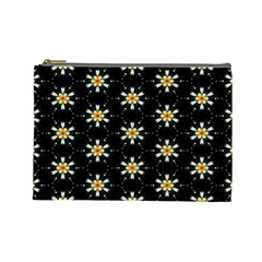 Background For Scrapbooking Or Other With Flower Patterns Cosmetic Bag (large)  by Nexatart