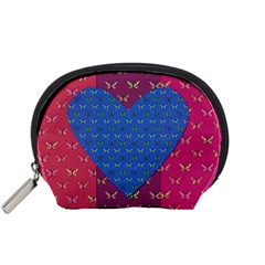 Butterfly Heart Pattern Accessory Pouches (small)  by Nexatart