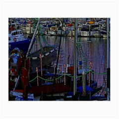 Christmas Boats In Harbor Small Glasses Cloth (2 Side) by Nexatart