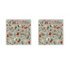 Christmas Xmas Pattern Cufflinks (Square) by Nexatart