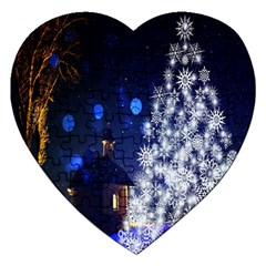 Christmas Card Christmas Atmosphere Jigsaw Puzzle (heart) by Nexatart