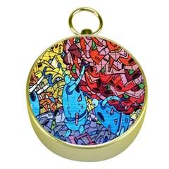 Colorful Graffiti Art Gold Compasses