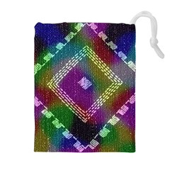 Embroidered Fabric Pattern Drawstring Pouches (extra Large) by Nexatart