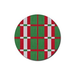 Fabric Green Grey Red Pattern Rubber Round Coaster (4 Pack)  by Nexatart