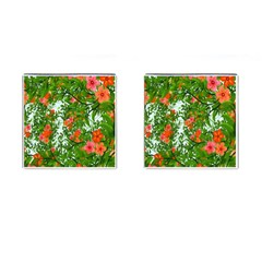 Flower Background Backdrop Pattern Cufflinks (Square) by Nexatart