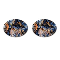 Frost Leaves Winter Park Morning Cufflinks (Oval) by Nexatart