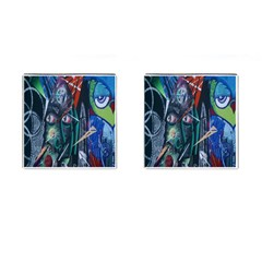 Graffiti Art Urban Design Paint Cufflinks (Square) by Nexatart