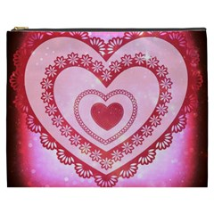Heart Background Lace Cosmetic Bag (xxxl)  by Nexatart